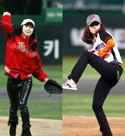 コン・ヒョジンとキム・ナムジュの始球式